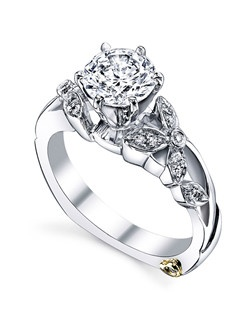The Adore engagement ring contains 17 diamonds, totaling 0.085 ctw. Shown with a 1ct center diamond. Center stone sold separately, not included in price. Available in yellow, white, or rose gold, and platinum. Rings can be custom made to fit any size or shape diamond or color center stone. Price excludes center stone