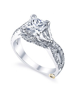 The Affection engagement ring contains 49 diamonds, totaling 0.325 ctw. Shown with a 1ct center diamond. Available in yellow, white, or rose gold, and platinum. Rings can be custom made to fit any size or shape diamond or color center stone. Center stone sold separately.