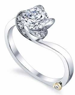 The Rose engagement ring contains 13 diamonds, totaling 0.145ctw. Shown with a 1ct center diamond. Center stone sold separately, not included in price. Available in yellow, white, or rose gold, and platinum. Rings can be custom made to fit any size or shape diamond or color center stone. Price excludes center stone