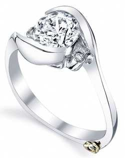 The Spark engagement ring contains 3 diamonds, totaling 0.035ctw. Shown with a 1ct center diamond. Center stone sold separately, not included in price. Available in yellow, white, or rose gold, and platinum. Rings can be custom made to fit any size or shape diamond or color center stone. Price excludes center stone