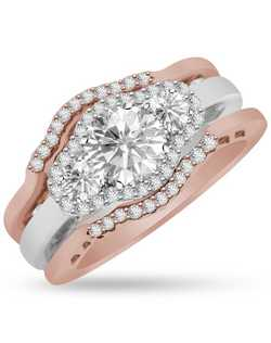 Surprise her with enchanting sparkle. This breath taking halo ring features a unique, three stone design with 2 fitted bands that captivates with the full cut diamond, surrounded by 0.52cts round brilliant diamonds and crafted in 14k white and pink gold. The center stone sold seperately.