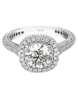 Flyerfit® by MartinFlyer Classic Micropave 14K White Gold Diamond Engagement Ring with Cushion Halo.  Shown here with Round Center Stone. All FlyerFit® rings feature Hearts and Arrows diamonds.