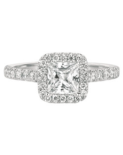 FlyerFit®Classic Micropave 14K White Gold Engagement Ring with Asscher Cut Halo. Shown here with a Princess Cut Center. All FlyerFit® rings feature Hearts and Arrows Diamonds