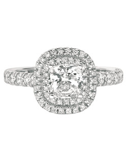 FlyerFit® by MartinFlyer Classic Micropave 14K White Gold Engagement Ring with Cushion Cut Double Row Halo. Shown here with Cushion  Head and Cushion Cut Center Stone. All FlyerFit® rings feature Hearts and Arrows Diamonds.