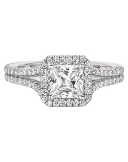 FlyerFit®by MartinFlyer Classic Micropave 14K White Gold Engagement Ring with Asscher Cut Halo. Shown with 5.5MM Princess Cut Center Stone. Total Diamond weight  = .38 cts. All FlyerFit rings use Hearts and Arrows Diamonds.