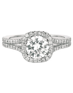 FlyerFit® Classic Micropave 14K White Gold White Gold Engagement Ring with Cushion Cut Halo Shown with 6.5MM Cushion Cut Round Stone. Total Diamond weight  = .37 cts. All FlyerFit rings use Hearts and Arrows Diamonds.