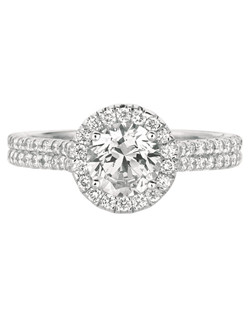 FlyerFit®by MartinFlyer Classic Micropave 14K White Gold Engagement Ring with Round Halo. Show here with rounds center.  All FlyerFit®rings feature Hearts and Arrows diamonds.