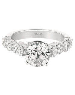 Flyerfit® by MartinFlyer Classic Shared Prong  Engagement ring in 14K White Gold. Shown here with round Center Stone. All FlyerFit® rings feature Hearts and Arrows diamonds.