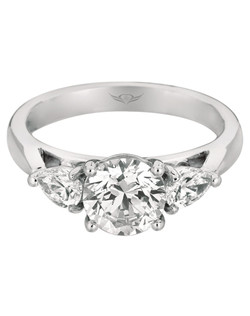 FlyerFit®by MartinFlyer  Classic Three Stone Engagement Ring in 14K White Gold. Shown here with with Pear Shaped Diamonds on each side of a Round Center Stone. All FlyerFit® rings feature Hearts and Arrows diamonds.