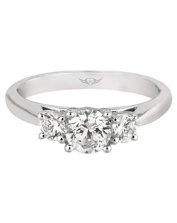 FlyerFit® by MartinFlyer Classic Three Stone Engagement Ring in 14K White Gold. Shown here with three Round Stones. All FlyerFit® rings feature Hearts and Arrows Diamonds.