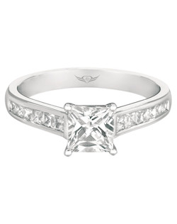 FlyerFit® Perfected Channel Princess cut Engagement Ring in 14K White Gold with Platinum Trellis Head. Shown here with Princess cut Center Stone. All FlyerFit® feature Hearts and Arrows diamonds.