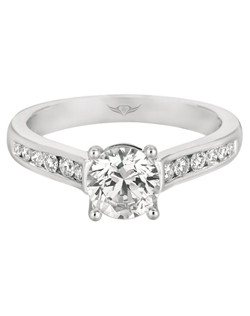 Flyerfit® Classic Channel 14K Engagement Ring in White Gold  with 14K White Gold Trellis Head. Shown here with Round Center stone. All Flyerfit® feature Hearts and Arrows diamonds.