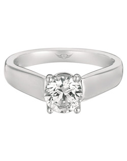 FlyerFit®Classic Tapered Solitaire Engagement Ring in 14K White Gold with 14K White Gold Head for  Round Center. All FlyerFit® rings feature Hearts andArrows diamonds.