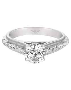 FlyerFit® Modern Vintage Engagement Ring in 14K White Gold. This ring design has micropave diamonds with flower shape halo and twisted diamond band. The squared off shank gives a contemporary design to the ring. Shown here with Round Center Stone.  All FlyerFit® rings feature Hearts and Arrows diamonds.