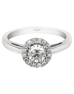 FlyerFit® Vintage Spolitaire Engagment ring in 14K White Gold. Wrapped in a round Halo of diamonds this Solitaire ring conveys a sense of simple, timeless  elegance. A high polished band completes the picture and adds a touch of modern drama. All FlyerFit® rings feature Hearts and Arrows diamonds.