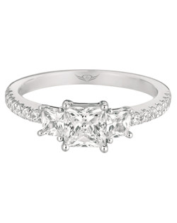 """FlyerFit® by MartinFlyer Vintage Princess Cut Three Stone Engagement ring in 14K White Gold. A """"Triple Threat""""  featuring a large Princess Cut center with additional Princess Cut stones on either side and micropave down the shank.  All FlyerFit®  Engagement Rings are made with Hearts and Arrows Cut Diamonds"""