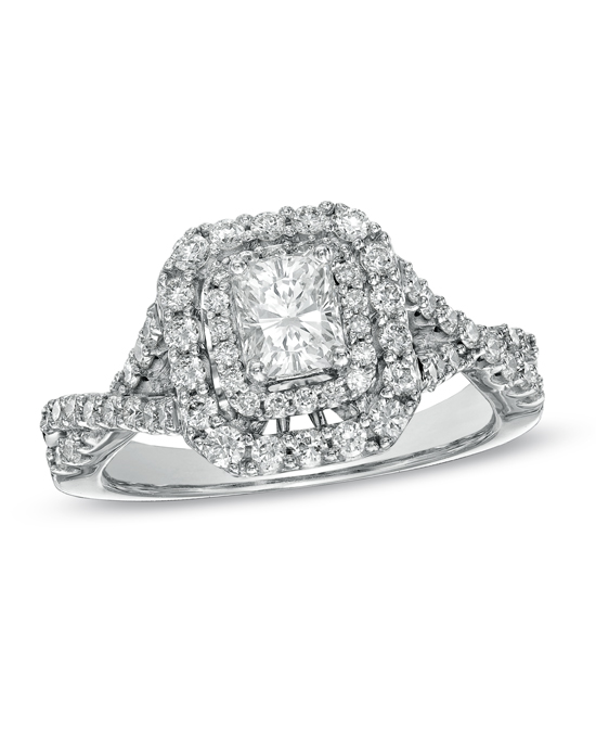 For the most amazing woman, a most amazing engagement ring. Ask for her hand with this dazzling design. Fashioned in 14K white gold, the eye is drawn to the 1/2 ct. certified radiant-cut diamond center stone and certified round side diamonds with a color ranking of H - I and clarity ranking of I1. A double frame of smaller round accent diamonds surrounds this center stone, while additional diamonds line the cleverly twisting shank. Completing the design, diamonds set into the shank beneath the crown ensure the ring sparkles from every angle. This romantic design captivates with 1-1/4 cts. t.w. of diamonds and a bright polished shine. The ring arrives with a certificate that includes a photo and a description of the diamonds, which guarantees quality and can be used for insurance purposes