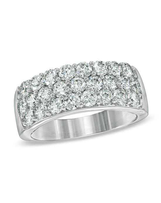Zales 2 CT T W Certified Diamond Three Row Wedding Band in 18K White Gold