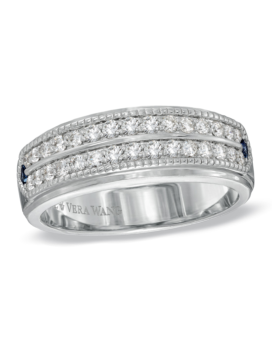 From the Vera Wang LOVE Collection, a ring for him of incomparable beauty and significance. Beautifully crafted in fine 14K white gold, this handsome and distinguished wedding band features a double row of shimmering round diamonds arranged across the band. Intricate milgrain detailing borders the ring's edges, adding depth and dimension. Flanking either side of the diamonds, princess-cut bright blue sapphires, a symbol of faithfulness and love, add a brilliant burst of welcome color. Radiant with 5/8 ct. t.w. of diamonds and buffed to a polished luster, this wedding band is a thoughtful symbol of your marriage commitment. The Vera Wang LOVE Collection is available exclusively at Zales.