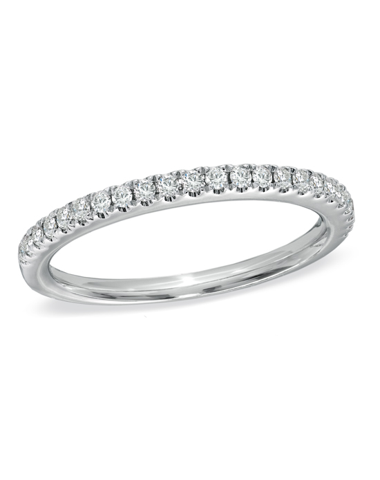 From the Vera Wang LOVE Collection, this captivating 14K white gold anniversary band offers incomparable beauty and unmatched quality. Micro-set into a ribbon of gold, 1/4 ct. t.w. of shimmering round diamonds encircle this classic anniversary band. Lovely alone, this band was designed to complement most Vera Wang engagement rings. Buffed to a brilliant shine, this timeless design is a dazzling symbol of your love and commitment. The Vera Wang LOVE Collection is available exclusively at Zales