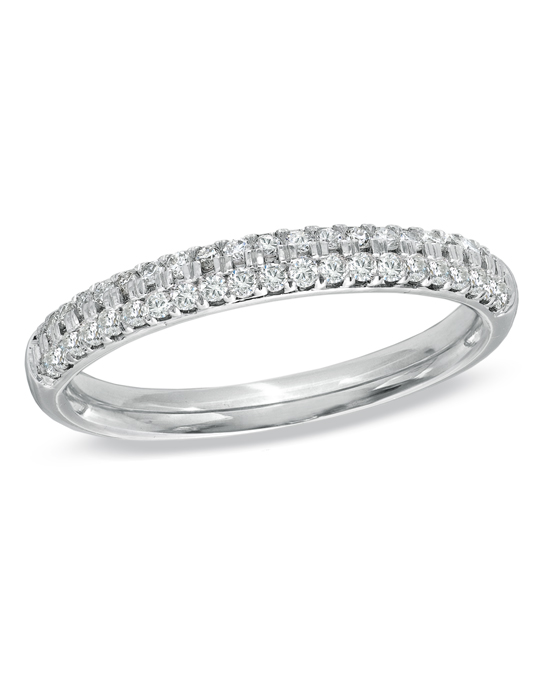 From the Vera Wang LOVE Collection, this captivating 14K white gold anniversary band offers incomparable beauty and unmatched quality. Micro-set into a ribbon of gold, two rows of shimmering round diamonds totaling 3/8 ct. encircle this classic anniversary band. Lovely alone, this band was designed to complement most Vera Wang engagement rings. Buffed to a brilliant shine, this timeless design is a dazzling symbol of your love and commitment. The Vera Wang LOVE Collection is available exclusively at Zales
