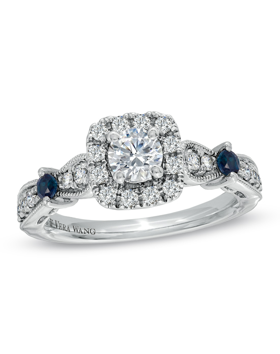 From the Vera Wang LOVE Collection, this captivating 14K white gold engagement ring offers incomparable beauty and unmatched quality. Inspired by a vintage design, this eye-catching engagement ring features a 1/3 ct. round diamond center stone surrounded by a squared frame of smaller accent diamonds. The ring's diamond-lined shank features two round blue sapphires that add color and sparkle, a signature of the collection and a symbol of faithfulness and everlasting love. Intricate milgrain detailing completes this exquisite design. Radiant with 3/4 ct. t.w. of diamonds, this engagement ring is a brilliant beginning to your romantic love story. The Vera Wang LOVE Collection is available exclusively at Zales