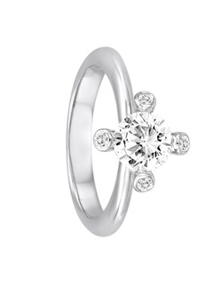 18K White Gold Flower Engagement Ring with .07ctw of diamonds set in the prongs (does not include the center stone, made to hold a 1ct round center stone but can be modified for any shape or size center)