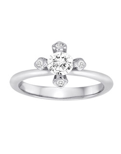 18K White Gold Flower Engagement Ring with .06ctw of diamonds set in the prongs (does not include the center stone, made to hold a .50ct round center stone but can be modified for any shape or size center)