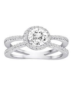 18K White Gold Split Shank Halo Diamond Engagement Ring with .38ctw of diamonds (does not include the center stone, made to hold a 1ct round center stone but can be modified for any shape or size center)