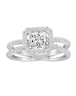 18K White Gold Split Shank Halo Engagement Ring with .69ctw of diamonds (does not include the center stone, made to hold a 6mm princess cut center stone but can be modified for any shape or size center)