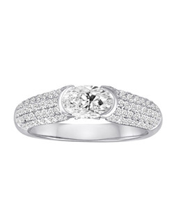 18K White Gold Pave Tension Set Diamond Engagement Ring with .73ctw of diamonds (does not include the center stone, made to hold a 5x7 oval center stone but can be modified for any shape or size center)