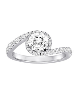 18K White Gold Crossover Diamond Engagement Ring with .43ctw of diamonds (does not include the center stone, made to hold a 1ct round center stone but can be modified for any shape or size center stone)