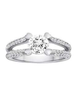 18K White Gold Pave Split Shank Diamond Engagement Ring with .76ctw of diamonds (does not include the center stone, made to hold 1ct round center stone but can be modified for any shape or size center stone)