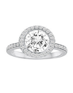 18K White Gold Pave Halo Engagement Ring with .43ctw of diamonds (does not include the center stone, made to hold a 1ct round center stone but can be modified for any shape or size center)