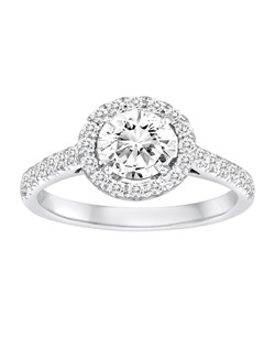 18K White Gold Halo Diamond Engagement Ring with .45ctw of diamonds (does not include the center stone, made to hold a 1ct round center stone but can be modified for any shape or size center)