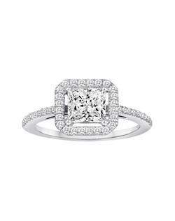 18K White Gold Square Halo Engagement Ring with .31ctw of diamonds (does not include the center stone, made to hold a 6x6mm princess cut center stone but can be modified for any shape or size center)