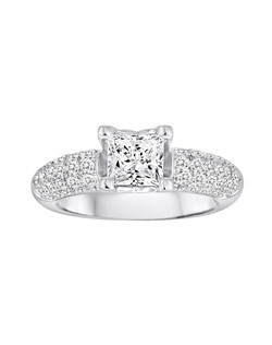18K White Gold Pave Engagement Ring with 1.02ctw of diamonds (does not include the center stone, made to hold a 1.5ct princess cut center stone but can be modified for any shape or size center)