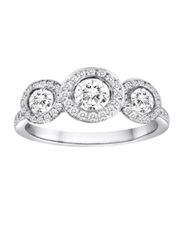18K White Gold Three Stone Halo Engagement Ring with .37ctw of diamonds (does not include the center stone, made to hold a .50ct round center stone and two .25ct side stones but can be modified for any shape or size center)