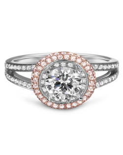18K White and Rose Gold Natural Pink Diamond Engagement Ring with .27ctw of pink diamonds and .30ctw of white diamonds (does not include the center stone, made to hold a 1ct round center stone but can be modified for any shape or size center)