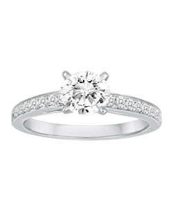 18K White Gold Diamond Engagement Ring with .25ctw of diamonds (does not include the center stone, made to hold a 1ct round center stone but can be modified for any shape or size center)