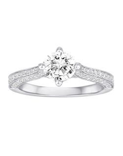 18K White Gold Pave Engagement Ring with .45ctw (does not include the center stone, made to hold a 1ct round center stone but can be modified for any shape or size center)