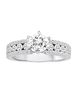 18K White Gold Channel Set Diamond Engagement Ring with .88ctw of diamonds (does not include the center stone, made to hold a 1ct round center stone but can be modified for any shape or size center)