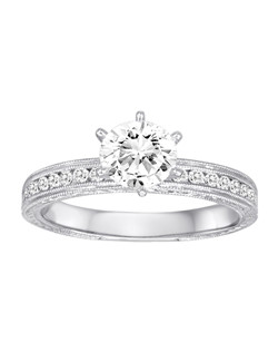 18K White Gold MilGrain Detailed Diamond Engagement Ring with .32ctw (does not include the center stone, made to hold a 1ct round center stone but can be modified for any shape or size center)