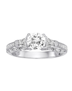 18K White Gold Vintage Inspired Engagement Ring with .63ctw of diamonds (does not include the center stone, made to hold a 1ct round center stone but can be modified for any shape or size center)