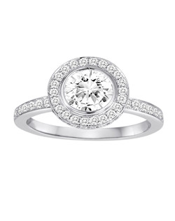 18K White Gold Halo Diamond Engagement Ring with .48ctw (does not include the center stone, made to hold a 1ct round center stone but can be modified for any shape or size center)
