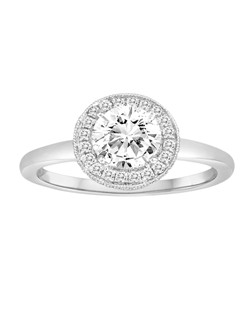 18K White Gold Diamond Halo with Smooth Shank Engagement Ring with .25ctw (does not include the center stone, made to hold a 1ct round center stone but can be modified for any shape or size center)
