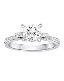 18K White Gold Diamond Engagement Ring with .29ctw (does not include the center stone, made to hold a 1ct round center stone but can be modified for any shape or size center)