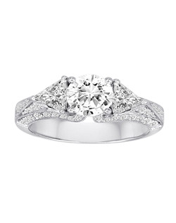 18K White Gold Vintage Inspired Engagement Ring with 1ctw of diamonds (does not include the center stone, made to hold a 1ct round center stone but can be modified for any shape or size center)