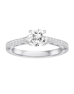 18K White Gold Vintage Inspired Engagement Ring with .16ctw of diamonds (does not include the center stone, made to hold a 1ct round center stone but can be modified for any shape or size center)