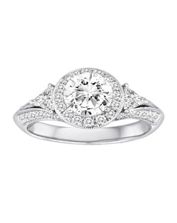 18K White Gold Diamond Engagement Ring with .73ctw of diamonds (does not include the center stone, made to hold a 1ct round center stone but can be modified for any shape or size center)